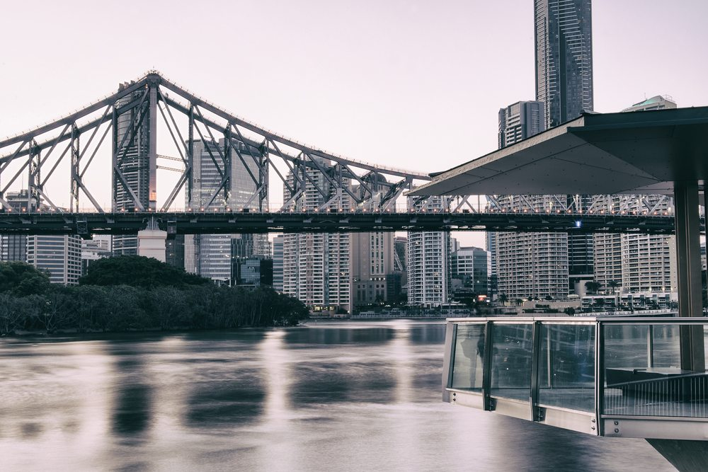 Overlooking The Brisbane River, Story Bridge And Cityscapes