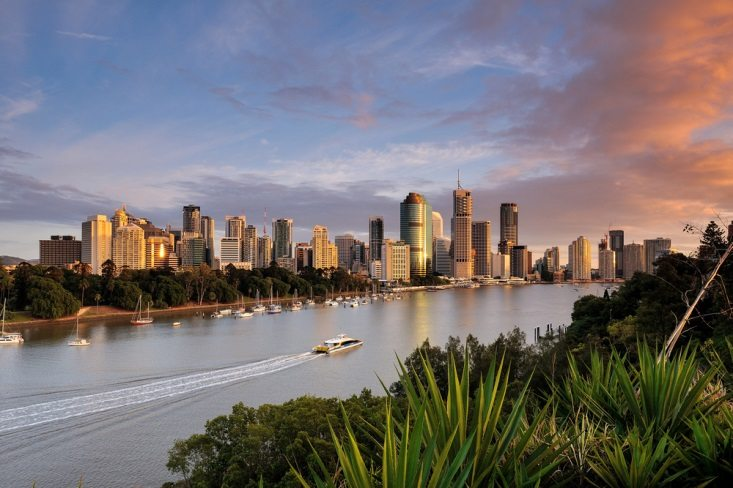 Overlooking the Brisbane City and River
