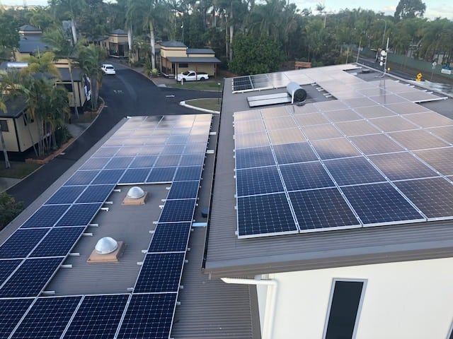 Solar Panels on the roof of Brisbane Holiday Village Reception