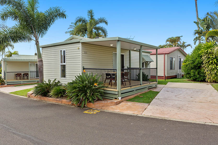 Front view of an Alfresco Cabin at Brisbane Holiday Village