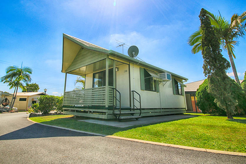 Front outside view of a 1 bedroom long term villa cabin at Brisbane Holiday Village