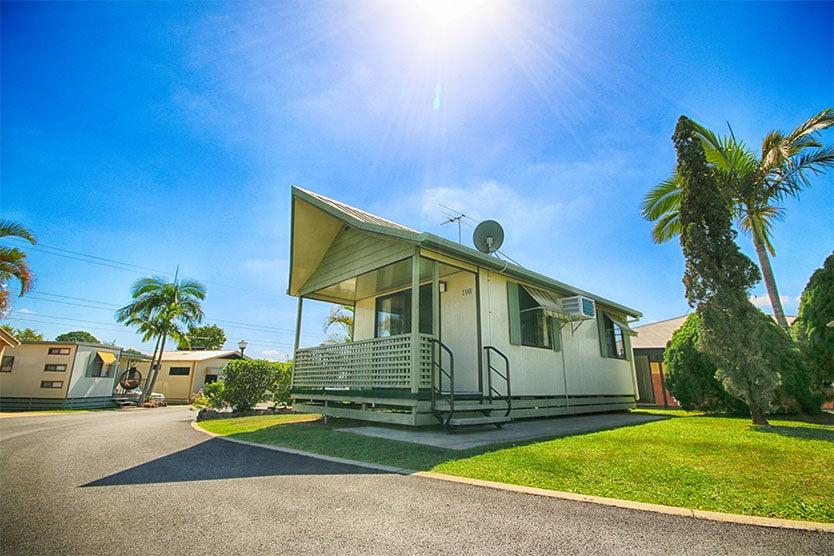 Front view outside a 1 bedroom long term villa at Brisbane Holiday Village