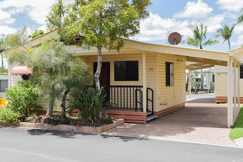 Front, outside view of a 2 bedroom long term villa at Brisbane Holiday Village