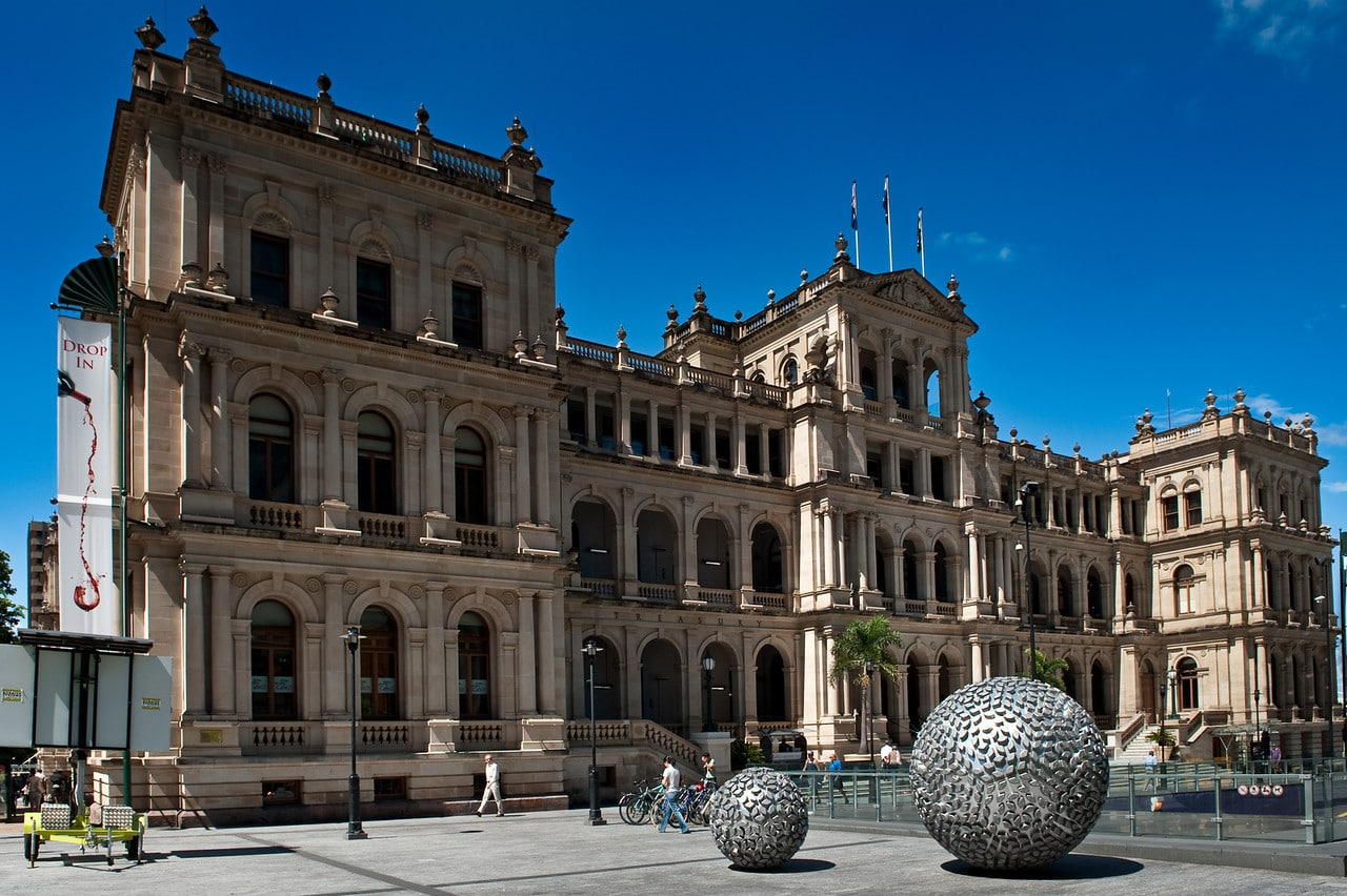 Treasury Building in the City with silver ball artwork at the front