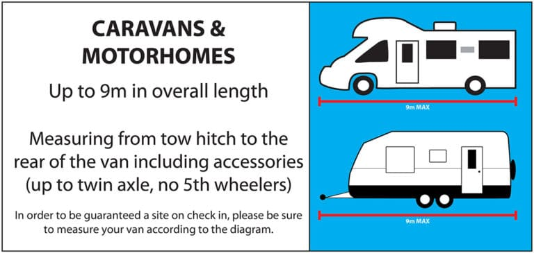 Allowance for up to 9m caravan sites. Caravans and Motorhomes up to twin axle