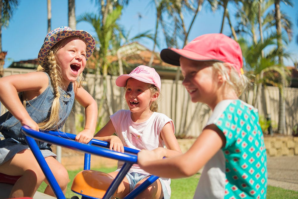 Kids playing on playground at Brisbane Holiday Village