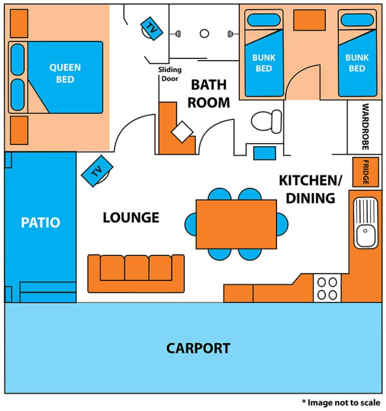 Floor Plan of a Cosmo Cabin at Brisbane Holiday Village