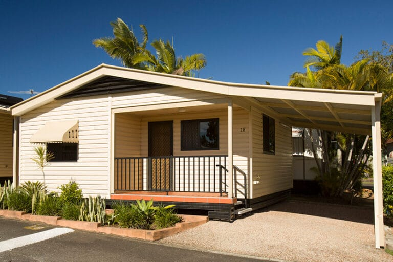 Front of a Metro Cabin at Brisbane Holiday Village