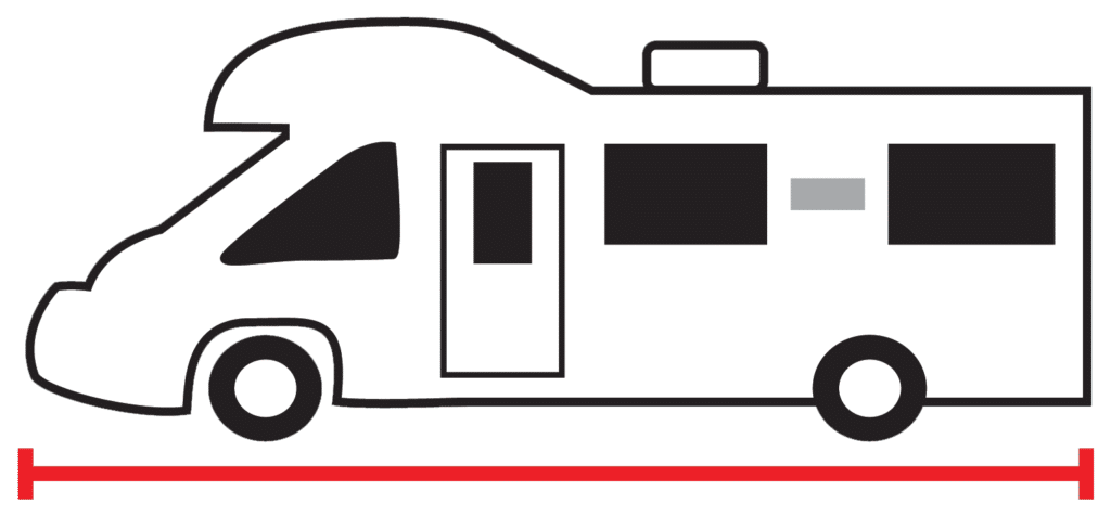 Motorhome icon with measurement line