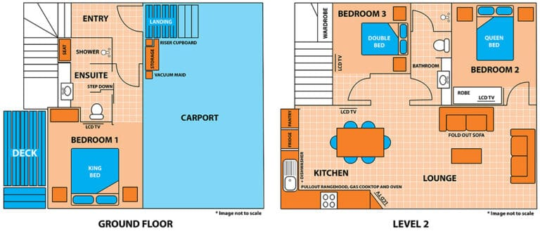 Floor plan of the Penthouse Cabin Apartment at Brisbane Holiday Village