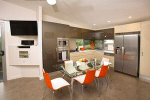 Kitchen area of the luxury Penthouse Cabin Apartment at Brisbane Holiday Village