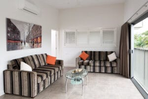 Lounge Area of the luxury Penthouse Cabin Apartment at Brisbane Holiday Village