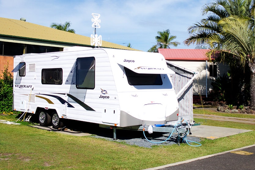 Caravan on an up to 7m caravan site at Brisbane Holiday Village