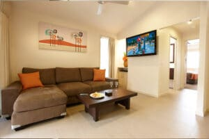 Lounge room area of a Vogue cabin at Brisbane Holiday Village