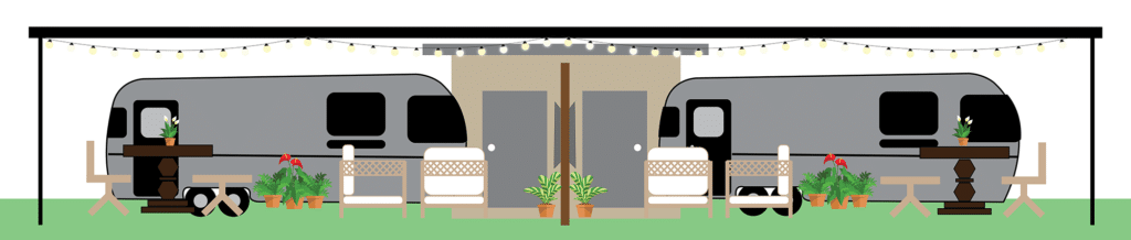 Airstream Site Layout and Concept art. Side view of Airstream Caravans