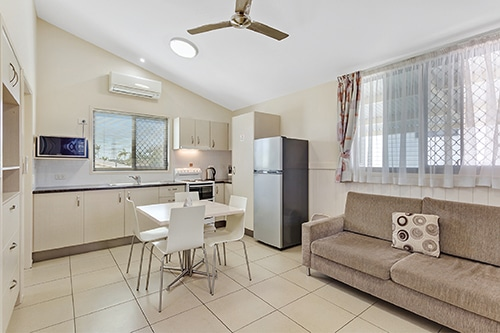Kitchen and living room of the Metro Cabin at Brisbane Holiday Village