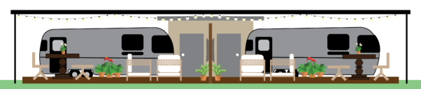 Side view of Airstream Sites