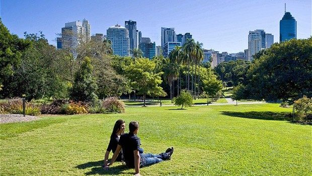 A couple relaxing on the grass at the City Botanic Gardens